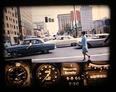 Mad Men much? Lovely lady in blue dress suit on Georgia Street, circa 1966 (TranBC) Tags: bcroadtriptimemachine vancouver 1966 bcministryoftransportationandinfrastructure photolog westvancouver downtownvancouver burnaby newwestminster