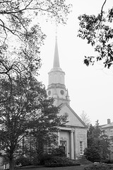 Connecticut College Chapel in Fog (romanboed) Tags: leica m 240 summilux 50 usa connecticut college new london university campus academic chapel church autumn fall fog mist bw monochrome black white blackandwhite
