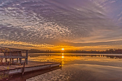 Silver Lake Sunset (Daniel000000) Tags: lake reflections sky sun light cloud clouds fall autumn water yellow orange golden dock nikon d750 dslr photo art photography nature landscape landscapes tree trees october sunrise colors