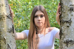 Immersed in nature. (pstone646) Tags: youngwoman younglady beauty pretty portrait people browneyes longhair woodland outdoors sunshine shadows