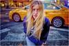 Yellow Taxi (Steve Lundqvist) Tags: new york usa states united america manhattan stati uniti travel trip viaggio urban city urbanscape ny nyc downtown big apple città bus structure crossroad cars street streetphotography strada incrocio auto insegna people light taxi zebra crossing waiting fifth avenue fujifilm x100s persone yellow portrait ritratto blonde hair girl