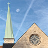 Calculating My Destiny By Triangulation (ioensis) Tags: moon clouds steeple church webster groves mo episcopal cross emmanuel roof stone window round triangles godisinthetriangles copper limestone destiny