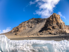 View to the Summit (RoamingTogether) Tags: africa furtwanglerglacier glacier hdr hiking kilimanjaronationalpark mountkilimanjaro nationalpark panasonic panasonic1442powerois panasoniclumixdmcgf3 tanzania