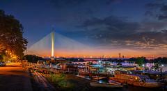 Ada-Bridge-Sunset-7 (Predrag Mladenovic) Tags: belgrade sava river ada bridge newrailway gazela sunset twilight reflections citylights