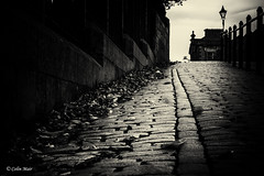 Blowy Autumn leaves - (Helios 103, 53mm) - 2017-10-15th (colin.mair) Tags: 4stop helios103 nd4filter f11 ussr russian contax manual lens long exposure bw black white cobbles pavement bridge ayr