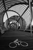 Twisting Tunnels II (Ked87) Tags: madrid spain architecture contemporary perrault roadsign black white monochrome bw arganzuela footbridge bridge metal mesh