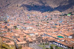 Cusco city with the plaza de armas.