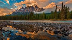 Sunset Colors in the Mountains (Banff NP, Alberta, Canada) (Sveta Imnadze) Tags: castlemountain reflection bowriver sunset clouds canadianrockies banffnp alberta canada