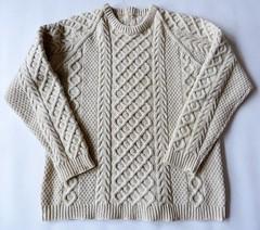 Aran wool sweater (Mytwist) Tags: hand knit warm cream wool aran jumper chest 44 winter casual gc cindersgladrags aranstyle aranjumper aransweater authentic irish fashion style sweater knitting