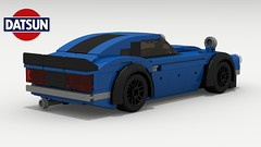 Datsun 240Z Tuner (rear view) (Tom.Netherton1) Tags: datsun nissan z 240z classic vintage straight 6 japanese japan car cars engine 1970s 1960s speed speedster sport sports special lego legos ldd city digital designer dropbox download pov povray lxf tuner tuned turbo