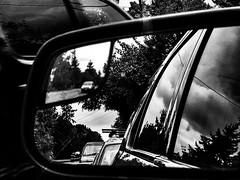 In the ferry line (ScottElliottSmithson) Tags: reflected traffic car ferry reflection mirror monochrome blackandwhite iphone scottelliottsmithson scottsmithson dtwpuck pacificnorthwest washingtonstate washington mukilteo mukilteoferry