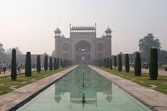 looking back at the main entrance to the Taj Mahal (zzzweber) Tags: india taj mahal marble iconic architecture x100f