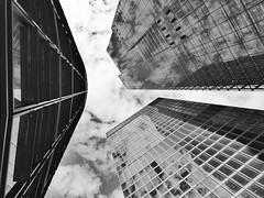 City Of Mirages (Douguerreotype) Tags: sky monochrome buildings clouds city bw uk 3 british england mono blackandwhite architecture britain reflection gb london urban bridge glass bank