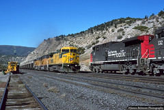 Skyline Coal Trains Meet at Gilluly (jamesbelmont) Tags: railway utah gilluly drgw southernpacific chicagonorthwestern ge ac4400cw c449w coal soldiersummit