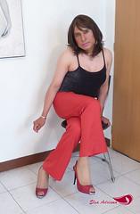 Red pants, black sleeveless blouse, red high heels Vol. II (Elsa Adriana) Tags: elsaadriana elsa sexylegs mexican peep tgirl travesti transvestite tbabe tv transgender transgenero toe mature