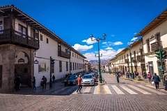 One of the main roads in the centre of Cusco.