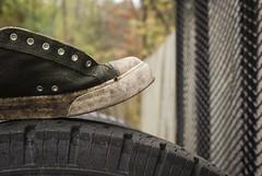 Old Sneaker Old Tire (rachelhartleysmi) Tags: shoes shoe sneaker fall tire curves lines circles junk trash