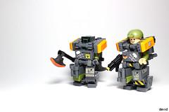 Military troopers X55 & X59 (Devid VII) Tags: military crew x55 devid vii mecha moc mech war troopers olive lego devidvii x59 orange