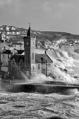 Surf watching (Andy Davey Photography) Tags: porthleven blackandwhitephotography storm waves wildweather weather clocktower ophelia hurricane sea roughseas cornwall cornishcoast beach westcountry
