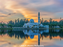 The Floating Mosque At Sunset (Azim Taufik) Tags: triggertrap longexposure longtimeexposure slowshutterspeed sunset sky skyline lake water reflection architecture mosque building terengganu malaysia outdoor dusk extremeexposure canon eos travel flickraward rm infinitexposure