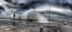 Blowing with Brian (Idreamofpies) Tags: new brighton newbrighton wirral uk england britain storm weather brian cloud sea coast wave water defences road car spray iphonese