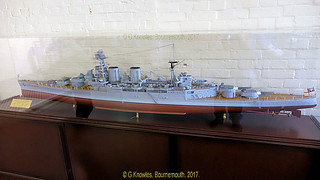 Model of HMS Hood  inside the Explosion Museum, one of the attractions at the Portsmouth Historic Dockyard in September 2017, Gosport, Hampshire, England.