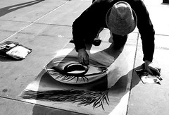 Pavement artist, Trafalgar Square, London (chrisjohnbeckett) Tags: pavementartist portrait action trafalgarsquare london bw blackandwhite monochrome londonist timeout street urban artist copying eye chalk chrisbeckett hat fujifilmx100f shadow