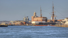 HDR Portsmouth Harbour (gibbsbrian) Tags: hmsqueenelizabeth hmswarrior portsmouth hampshire uk england portsmouthharbour hdr canon sea qhm canon5dmkiv ef 28300 ef28300mmf3556lisusm harbour port