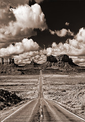 """Straight Shot"" (Jeff Stamer (Firefallphotography.com)) Tags: monumentvalley southwest mile marker 13 milemarker13 us163 arizona forrestgump blackandwhite sepia"