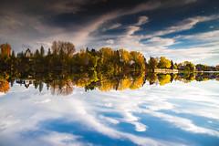 Quand le ciel se marie avec la terre (BLEUnord) Tags: yamaska ciel sky nuages clouds bleu blue automne autumn fall nuageux cloudy arbres trees réflexions reflections 180 mariage province québec canada