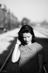 Still Beautiful (AZ Bear Photography) Tags: train portrait tracks model beautiful lady young arizona mono blackandwhite bnw woman desert october