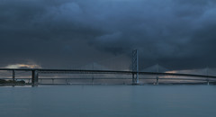 Storm clouds over the Bridges (Eastern Davy) Tags: forthroadbridge queensferrycrossing riverforth river storm outdoor dusk southqueensferry edinburgh scotland canon 70d 1022