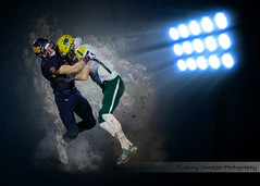 Collision (Jenny Onsager) Tags: football sports americanfootball teensports stadium stadiumlights smoke take tackling helmets sportsposters