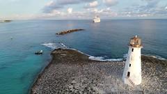 Hog Island-Port Of Nassau, Bahamas (Daniel Piraino) Tags: sea water horizonoverwater lighthouse guidance sky cloudsky nauticalvessel cruiseship traveldestinations travel aerialview aerialshot dronephotography bahamas