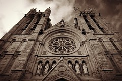 Basilica Of Our Lady Immaculate .... 28 Norfolk Street .... Guelph, Ontario (Greg's Southern Ontario (catching Up Slowly)) Tags: basilicaofourladyimmaculateguelph basilicaofourladyimmaculate sepia sepiaphotography nikon nikond3200 cityofguelph guelphontario 28norfolkstreet josephconnellyarchitect frenchgothic minorbasilica