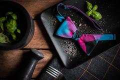 Farfalle. (jakub.sulima) Tags: nikon d750 nikkor 50mm f18g studio inside indoor lines rural table tabletop tableware plate fork granite mortar wood wooden wool cotton natur nature rustic modern cuisine food farfalle pasta art light delicate windowlight style fashion men man bow tie bowtie wedding digital bazil plant plants texture colours colorful blue grey pink black green silver brown yellow white metal china ceramic flickr autumn fall october from above closeup pepper