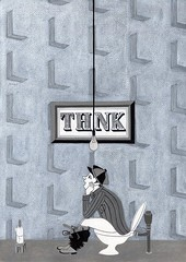 Think! (Hilo Tomula) Tags: hilo tomula hiro tomura ひろ トムラ ヒロ とむら thinking idea toilet bathroom restroom lavatory powder room flame wall paper geographic textile pattern vintage retro light bulb sitting wash washroom thinker creative creation illustrator illustration illust drawing painting hand brush portrait design art graphic invention balck white bw
