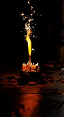 Celebrating Life ... (Hazem Hafez) Tags: cake tarte celebration candles fire birthday wishes sparks sparkles stars fireworks table happiness cookies biscuits food dessert