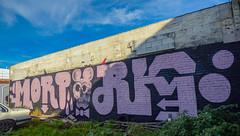 MortRig (Steve Taylor (Photography)) Tags: mortrig mickymouse bowtie art graffiti mural streetart blue black green pink newzealand nz southisland canterbury christchurch weeds shadow sunny sunshine