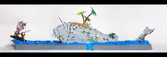 Blow, Harry, Blow! Panoramic view (Dwalin Forkbeard) Tags: lego moc pirates ship sea ocean brave harpoon fish island palm raft escape wind whale teeth monster beast