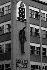 Sheffield Street Art & Sculpture (magpiedom) Tags: street urban art sculpture black white bw sheffield england uk yorkshire city wicker man sticks weird eery mood 85mm f18 nikon d5300 flats decay apartments block windows