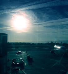 At The Airport (sablott) Tags: aircraft spain iberia europe galicia santiagadecompostella architecture plane airplane backlight sun thesun sky santiagodecompostella santiago acoruña building