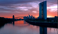 ECB - EuropeanCentralBank (EOS1DsIII) Tags: eos1dsiii deutschland germany frankfurt ezb ecb bank architecture skyline sky himmel main mainriver blau rot red blue orange
