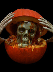 Surprise ! (mariola aga) Tags: halloween pumpkin curving skeleton skull orange black background funshot coth alittlebeauty coth5 sunrays5