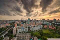 Overlooking Whampoa (Scintt) Tags: singapore toa payoh evening light glow dusk twilight hour trees colours vibrant contrast wide angle vantage point travel urban exploration hdb property structure architecture building scintillation scintt jon chiang photography lens long exposure slow shutter whampoa housing estate public apartments residential private condo real skyline sky clouds sunset rays city cityscape futuristic tower realestate boonkeng home dramatic surreal epic nikond850 1424mm nikkor landscape expressway highway traffic vehicles weather