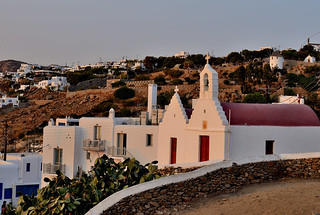 Chapels bathing in sunset light in Mykonos