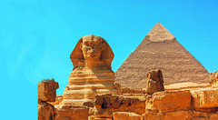 ED58X1 (GilliesZaiser) Tags: sphinx khafre egypt cairo wonders ancient tourism giza famous unesco profile photo destination clear nobody ruins travel horizontal landmark attraction restored necropolis old africa tourist historic egyptian world african iconic blue pyramid great empty sky desert