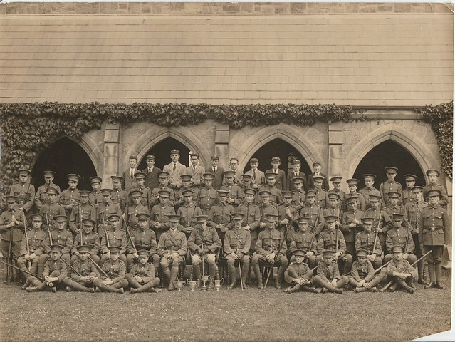OTC 1922 in front of Cloisters. JD Gwynn Back Row 5th from left