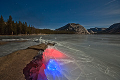 LED-Colored Ice (Jeffrey Sullivan) Tags: yosemite national park tenaya lake moonlit night california usa nature landscape photography canon 5dmarkii road trip photo copyright 2012 jeff sullivan january froxen ice winter long exposure light painting frozen