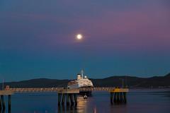 AU REVOIR (BLEUnord) Tags: marcopolo bateau boat ship cruise line croisière rivière river saguenay lune moon pleine full quai dock québec canada
